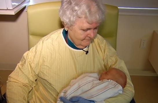 Mary Burns volunteer baby cuddler