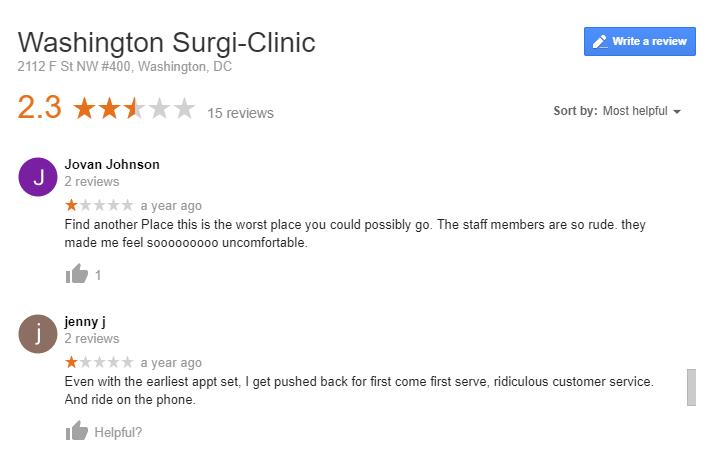Santiago Washington Surgi-Clinic Google Review 2016