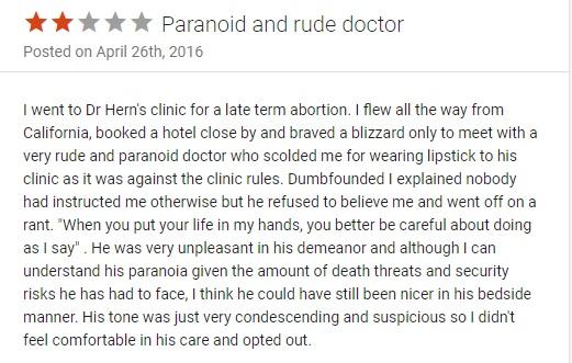 Warren Hern patient review Vitals paranoid and rude