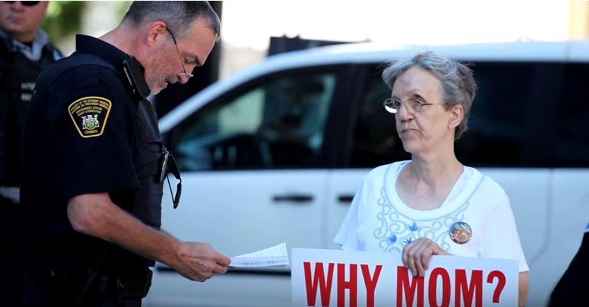 Linda Gibbons, pro-life activist, is arrested.