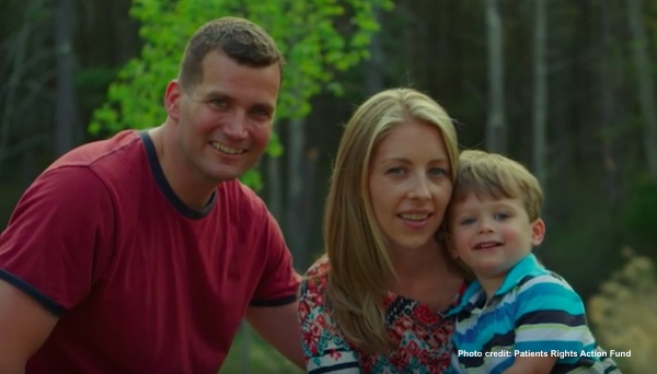 J.J. Hanson, who rejected assisted suicide, with his family