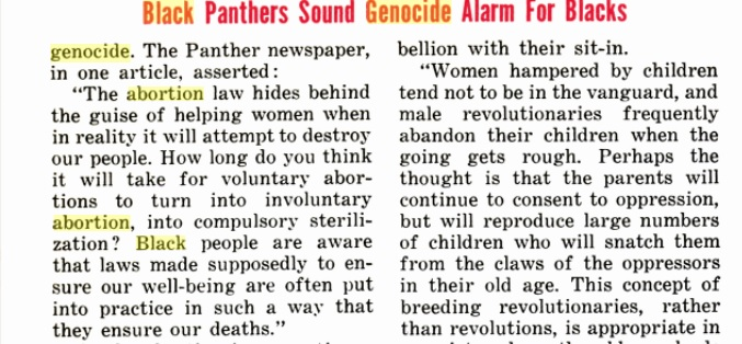 Image: Jet Magazine article on Black Panthers and abortion