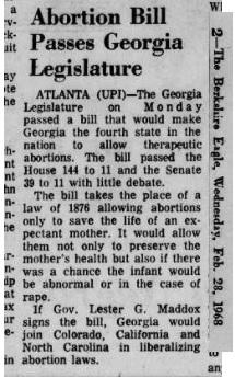 1968 Georgia legalizes abortion
