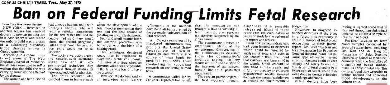 1975 Ban funding fetal research