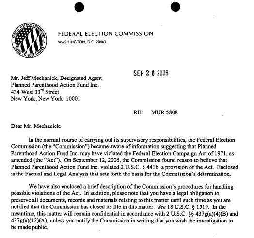 Image: letter Federal Elections Commission (FEC) against Planned Parenthood Action Fund