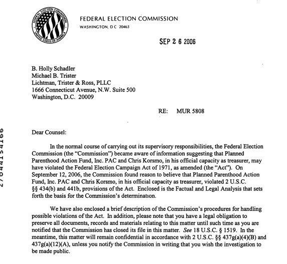 Image: letter Federal Elections Commission (FEC) against Planned Parenthood Action Fund and Treasurer