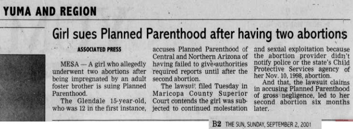 Image: article Girls Sues Planned Parenthood failed to report sexual abuse Shawn M Stevens Case