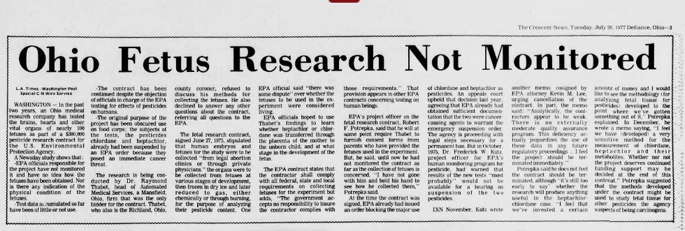 Image: article Gov dollars fund EPA research using aborted babies (Image credit: Defiance Crescent News 7/29/1977)