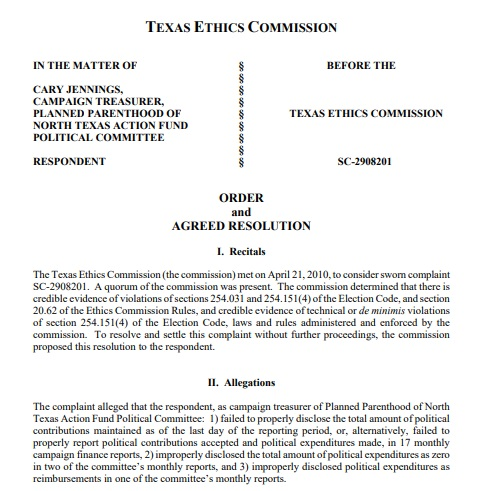 Image: Texas Elections against Cary Jennings treasurer Planned Parenthood of North Texas Action Fund Political Committee