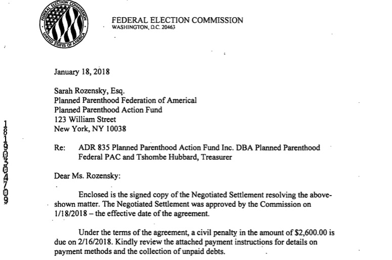 IMage: Letter 2018 Federal Elections Commission (FEC) ADR against Planned Parenthood Action Fund