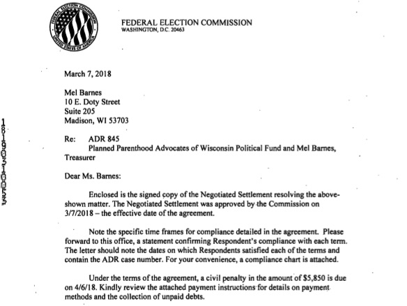 Image: letter 2018 Federal Elections Commission (FEC) ADR against Planned Parenthood Advocates of Wisconsin