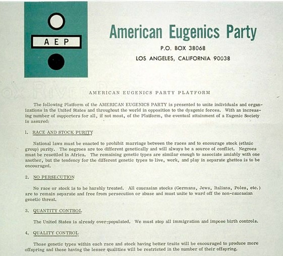 Image: American Eugenics Party platform 1964