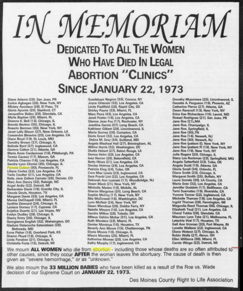 Image: Jan 1996 advertisement mourning legal abortion deaths