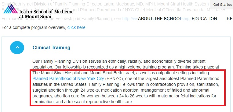 FFP Mt Sinai School of Medicine trains abortion at Planned Parenthood