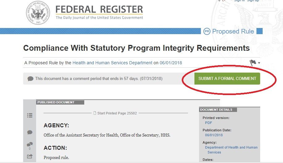 Image: June 2018 TitleX Proposed Rule Comment Federal Registry