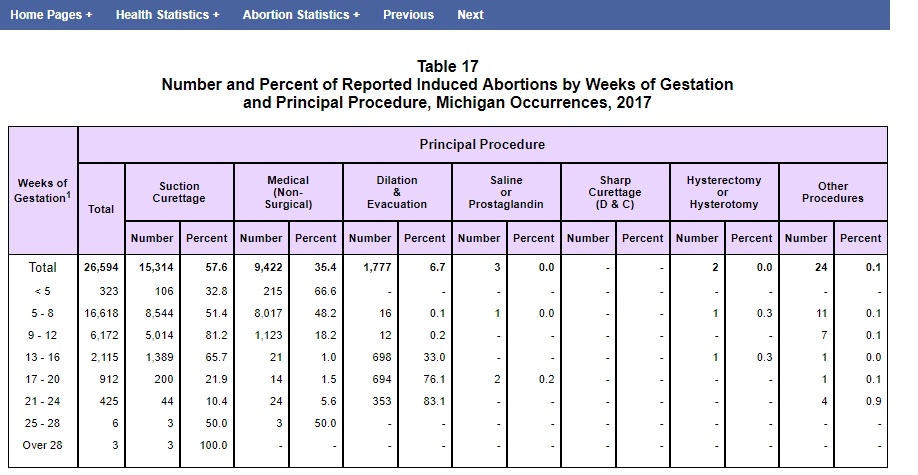 Michigan abortion stats by gestation 2017