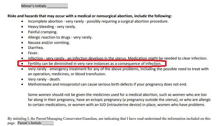 Planned Parenthood abortion consent of minor form medication abortion fertility diminished