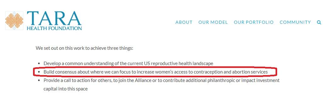TARA Health Foundation promotes abortion 2