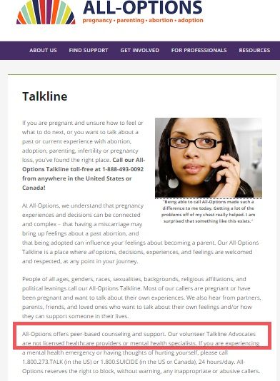 Image: All-Options Talkline no licensed counselors