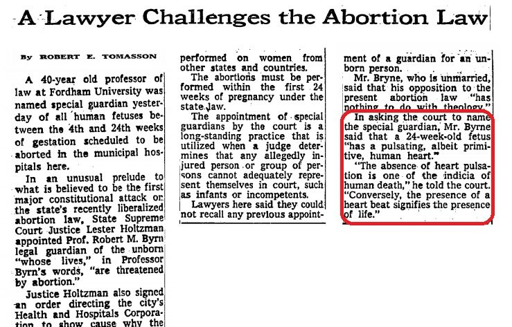 Image: Robert M Byrn challenges NY abortion (Image credit: NYT 12/4/1971)