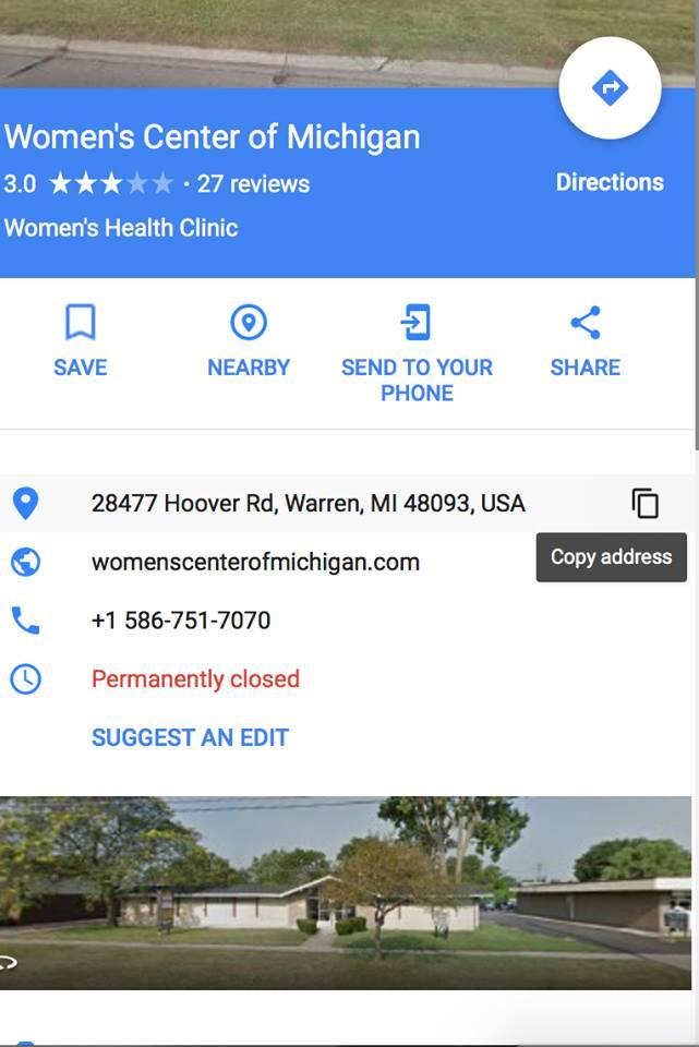 Kalo abortion facility Women's Center of Michigan via Google maps