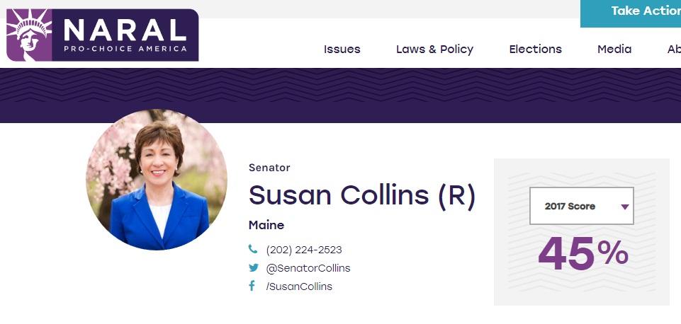 Sen Susan Collins 2017 NARAL voting record