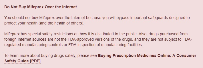 Image: FDA warns consumers to not buy abortion pills over the internet (Image: FDA)