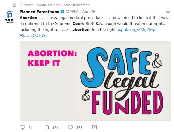 Planned Parenthood tweet to keep abortion safe and legal with SCOTUS