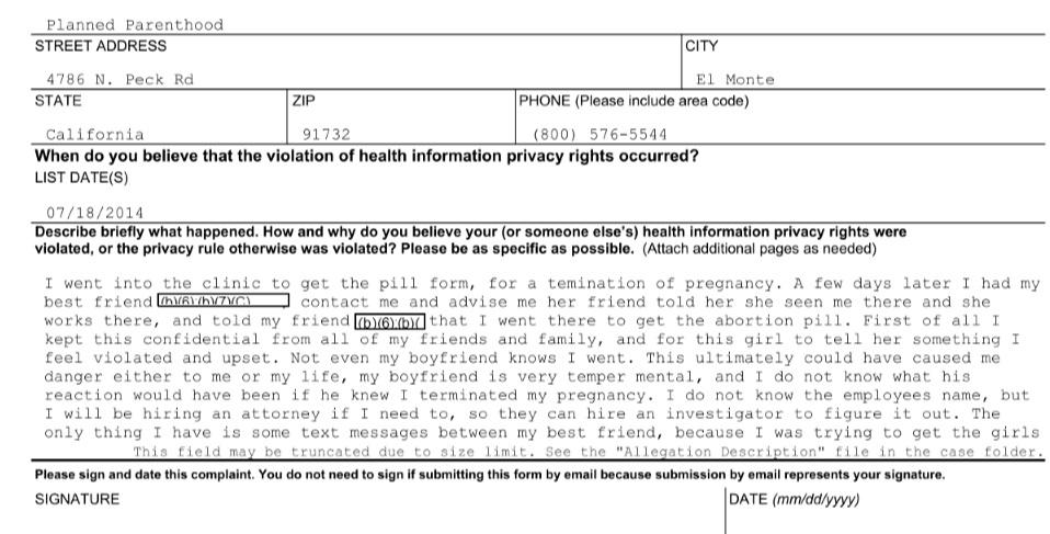Image: 2014 privacy complaint Planned Parenthood El Monte Ca (Image: OCR)