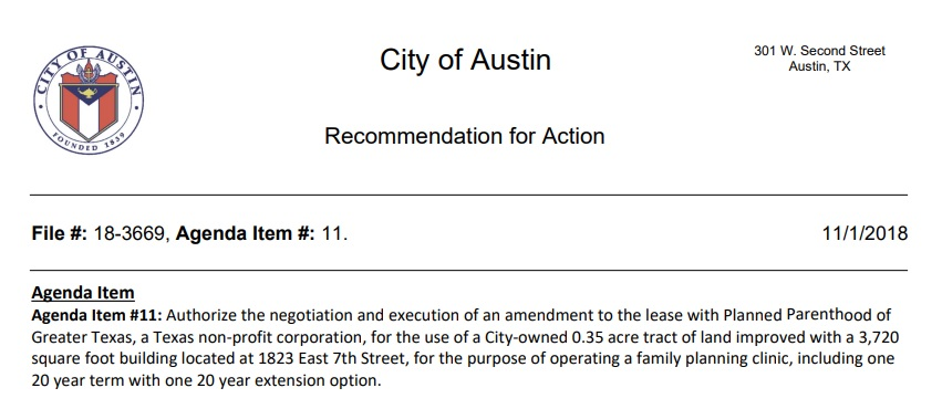 Image: Austin City Council to lease to Planned Parenthood for one dollar (Image: City of Austin Council Notes)
