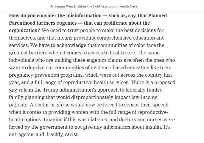 Image: New York Times asks Leana Wen about eugenics and Planned Parenthood (Image NYT's Dr. Leana Wen Dislikes the Politicization of Health Care 11/6/2018)