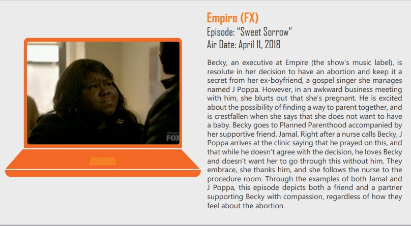 Image: ANSIRH promotes portrayals of Black woman having abortion at Planned Parenthood (Image: Abortion Onscreen in 2018)