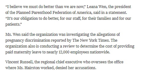 Image: Excerpt of NYTs article on how Planned Parenthood treats pregnant employees