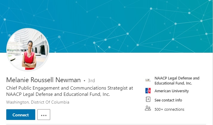 Image: Melanie Roussell Newman LinkedIn page NAACP (Image screen LinkedIn accessed Jan 14, 2019)