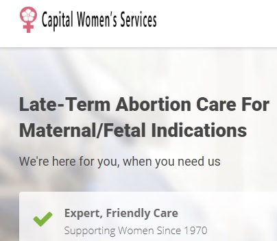Image: Capital Womens Service abortion facility uses term late term abortion on website