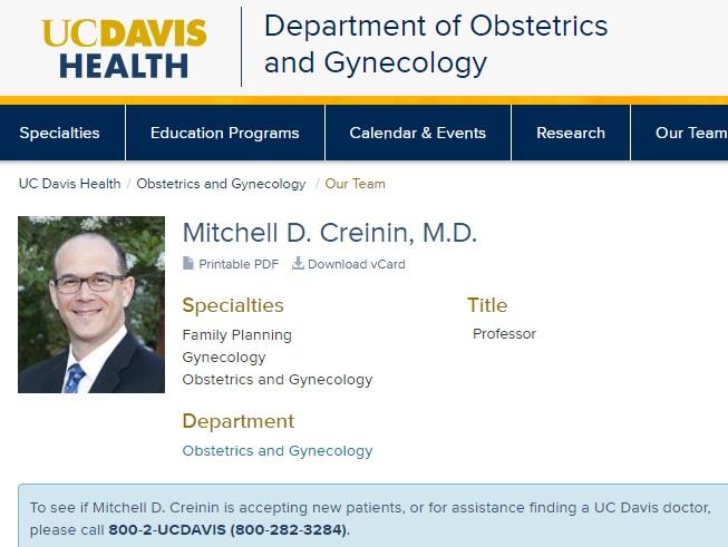 Mitchell D Creinin Professor University of California Davis