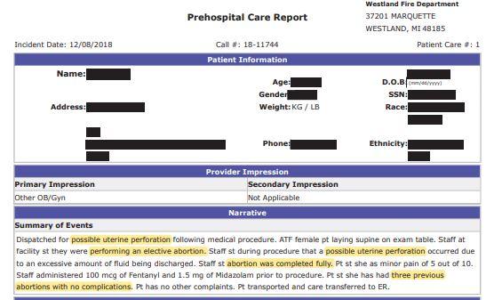 Screenshot abortion complication Michigan
