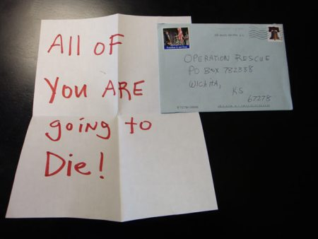 Image: Threatening letter sent to pro-life group Operation Rescue