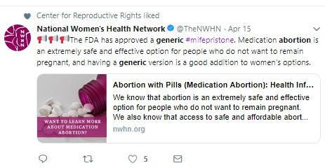 Image: FDA Approves generic abortion drug NWHC (Image: Twitter)