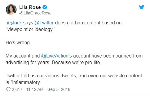 Image: Lila Rose tweet to Jack Dorsey for Twitter censoring pro-life group Live Action