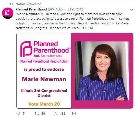 Marie Newman Democrat Illinois Planned Parenthood supporter