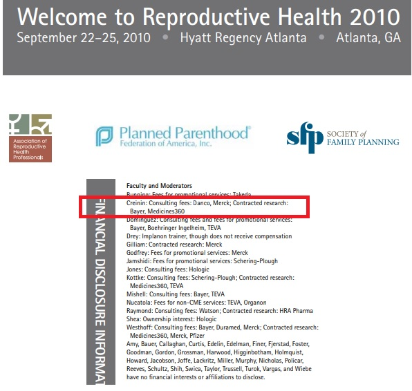 Mitchell Creinin consultant for Danco abortion pil MFG RH Conf 2010