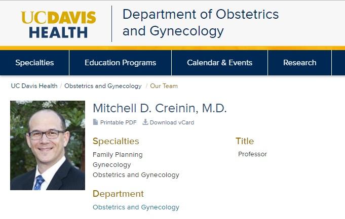 Mitchell Creinin professor UC Davis