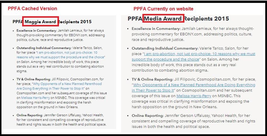 PPFA Maggie Award now Media Award