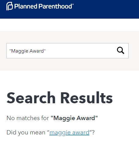 Image: Planned Parenthood search Maggie Award (PPFA website 05132019)