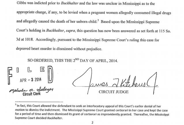 Buckhalter - Mississippi murder charge dismissal