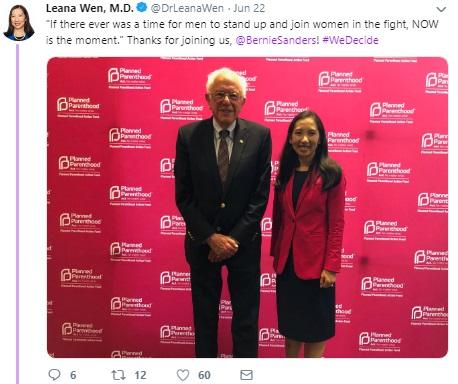 Image: Bernie Sanders June 2019 We Decide Forum w/ Planned Parenthood (Image: Twitter)