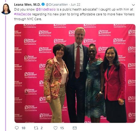 Image: Bill DeBlasio June 2019 We Decide Forum w/ Planned Parenthood (Image: Twitter)