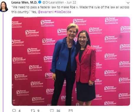 Image: Elizabeth Warren June 2019 We Decide Forum w/ Planned Parenthood (Image: Twitter)