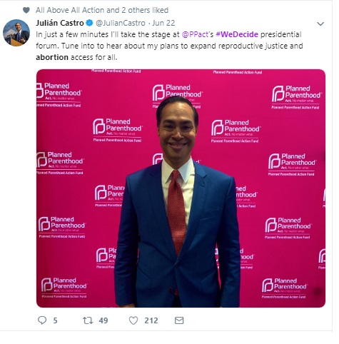 Image: Julian Castro June 2019 We Decide Forum w Planned Parenthood (Image: Twitter)